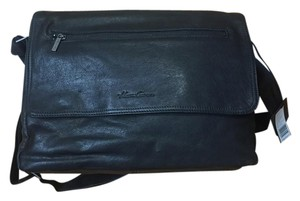 Kenneth Cole Leather Messenger Distressed Black Messenger Bag
