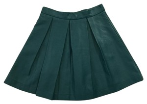 French Connection Full Pleated Faux Leather Trendy Skater Mini Skirt green