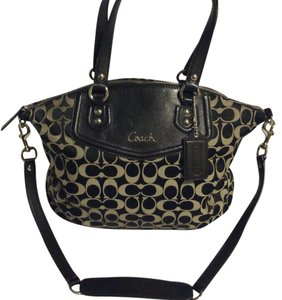 Coach Top Handle Long Strap Monogram Satchel in black