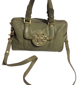 Tory Burch Leather Logo Long Strap Satchel in green