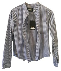 Reformation Shirt Stripes Cool Button Down Shirt Blue and White