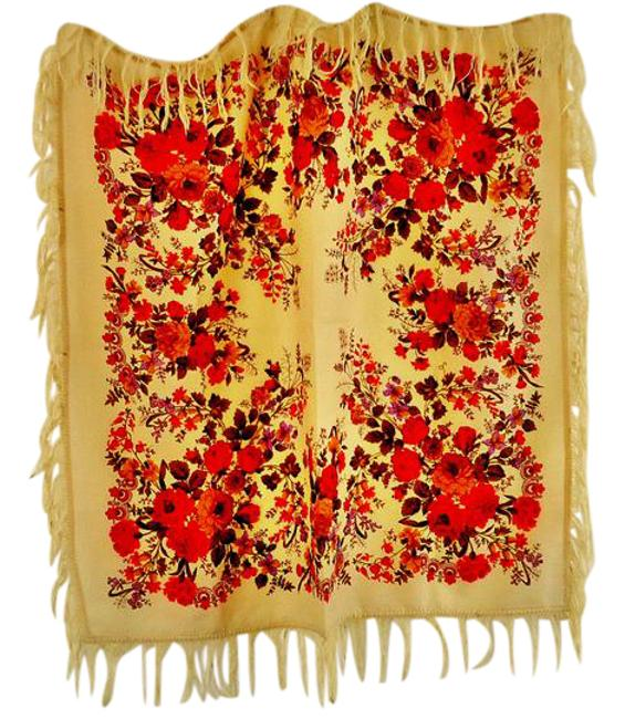Item - Floral Bn Thinnest Wool Fringed Very Small Hole By Fringe Scarf/Wrap