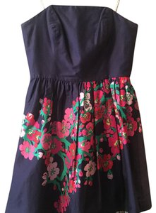 Lilly Pulitzer short dress Navy with Pink floral on Tradesy