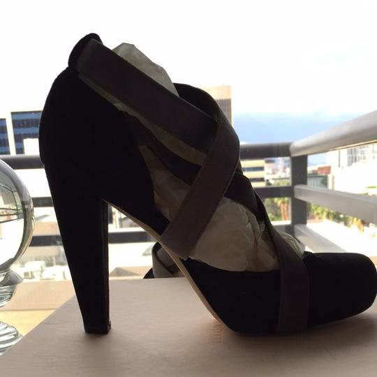 Loeffler Randall Black With Grey Straps Platforms