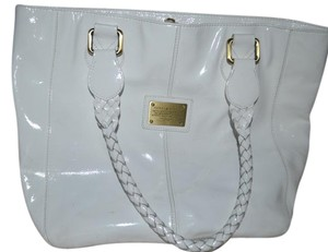 Tommy Hilfiger Gold Tote in White Patent Leather