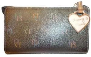 Dooney & Bourke Black Coated Canvas Wallet Gold Tone Heart Wallet