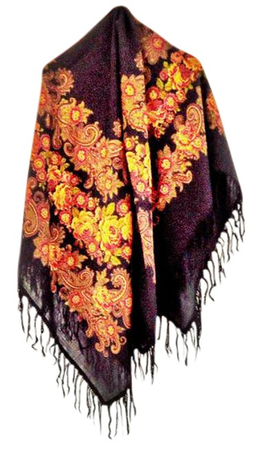 Item - Floral Bn Thinnest Wool Intricate Fringe Generous Size Pattern Scarf/Wrap