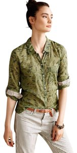 Anthropologie Quirky Animals Top Moss Green