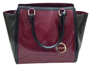INNUE' Vintage Handbag Leather Laptop Unique Tote in Gorgeous grey, burgundy, and black with gold accents