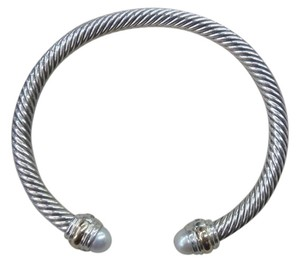 David Yurman size medium, 5mm sterling silver Bracelet with pearl & 14KYG