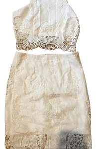 two piece white lace crop and skirt set Dress