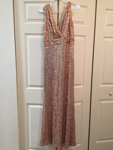 Badgley Mischka Rose Gold Sequins Belle Sleeveless V-neck Gown Formal Bridesmaid/Mob Dress Size 2 (XS)