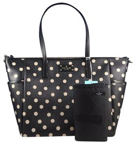 Kate spade polka dot bags up to 70 off at tradesy kate spade tote black beige diaper bag junglespirit Image collections