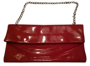 Dooney & Bourke Patent Leather Silver Finish Chain Snap Closures Cherry Red Clutch
