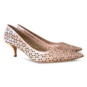 Prada Patent Leather Perforated Pointed Toe Cut-out Beige Pumps