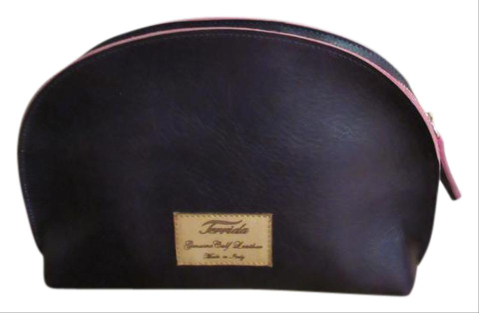 Eggplant / Hot Pink Luxury Travel / Made In Italy Cosmetic Bag 28% off  retail