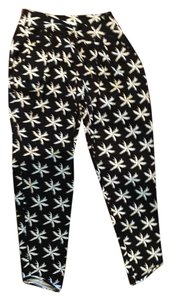 Fighting Eel Relaxed Pants Black and White Palm Tree Print