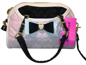 Betsey Johnson Satchel in Pink, White and Black