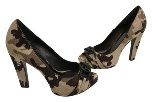 Jessica Simpson Silver Rings Stiletto Heels Shades of brown calf hair in cow pattern peep toe Platforms
