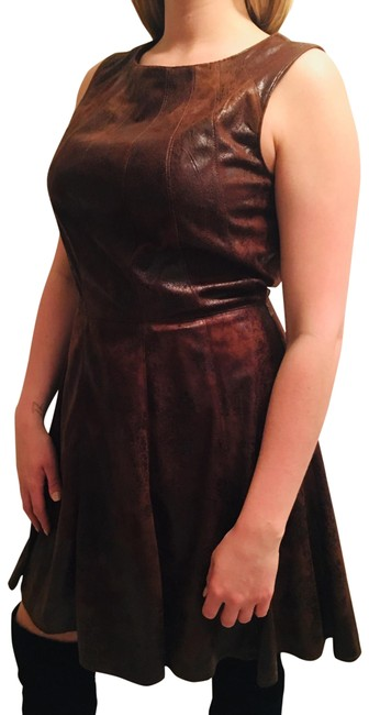 Item - Brown Faux Suede Mid-length Night Out Dress Size 14 (L)