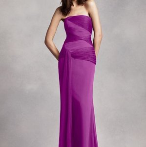 Vera Wang Bridal Cassis David's Bridal Vera Wang Fuchsia Purple Cassis Crinkle Chiffon Column Gown Bridesmaid Dress Dress