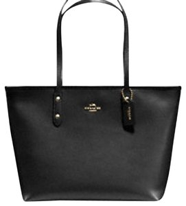 Coach City Leather Pink Tote in Black