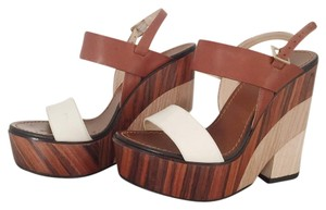 Jimmy Choo white and brown Wedges