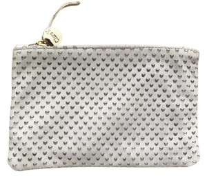 Clare V. Chambray Leather White Ivory Clutch