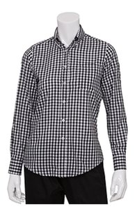 Chef Works Button Down Shirt Checkered black and white