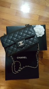 Chanel Leather Matte Gold Hardware Cross Body Bag