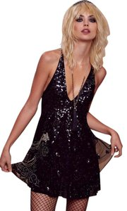 Nasty Gal Sequins Beading Embroidery Mesh Flapper Dress