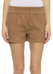 PAM & GELA Suede Leather Pockets & Elastic Waistband Mini/Short Shorts Tan