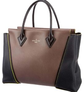 Louis Vuitton Satchel in brown, black, fluorescent yellow piping silver hardware