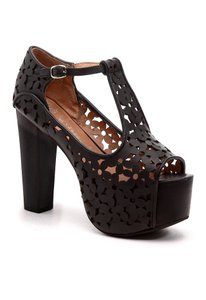 Jeffrey Campbell Leather Chunky Cut-out Ankle Strap Black Platforms