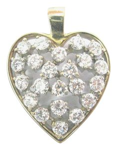 Other Fine Round Cut Diamond Cluster Yellow Gold Heart Pendant 27mm 2.23Ct