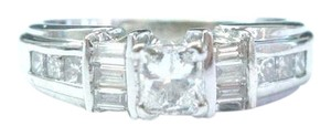Other 18Kt Princess & Baguette Diamond White Gold Engagement Ring .88CT