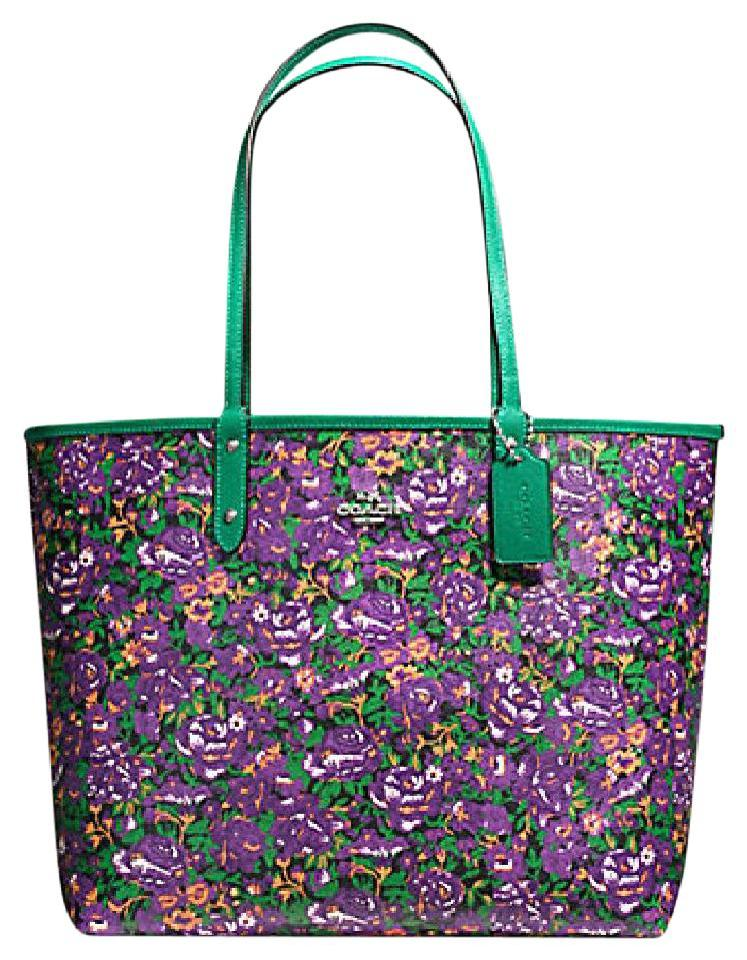 Popular Coach City Reversible In Posey Cluster Floral: Msrp Flower Purple  DO91