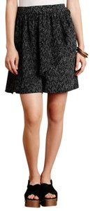 Anthropologie High Waisted Draped Printed Culotte Dress Shorts Black