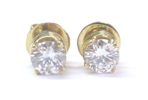 Other Fine Round Cut Diamond 4-Prong Yellow Gold Push Back Stud Earrings 1.2