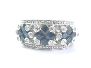 Other Fine Gem Sapphire Diamond White Gold Jewelry Band Ring 14KT 2.08Ct