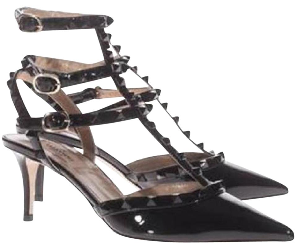 5289df362a31 Valentino Black Rockstud Studded Patent Leather T Strap Strappy Kitten  Heels Sandals