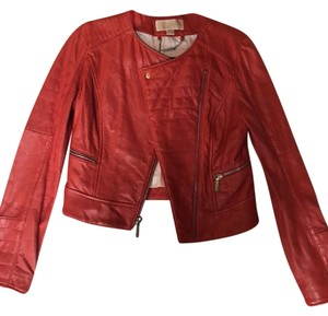 Michael Kors Red Leather Jacket