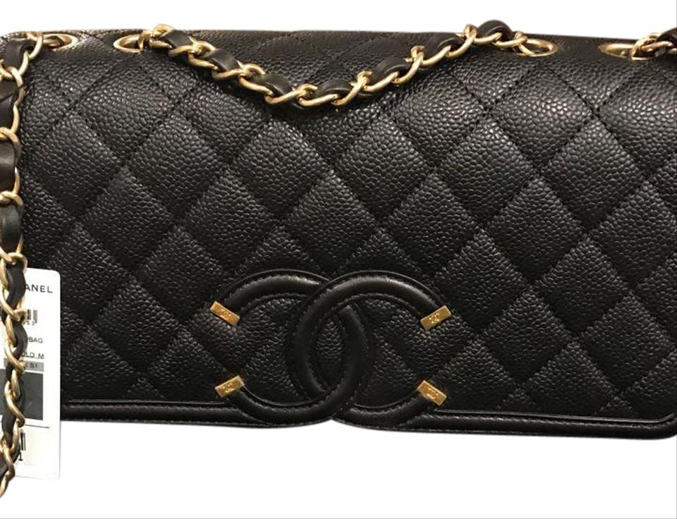 Chanel black caviar leather cross body bag tradesy for Chanel collection miroir 4179