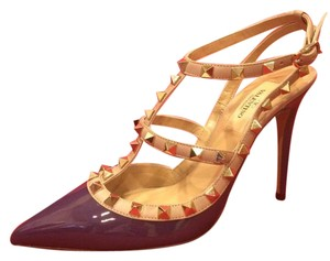 Valentino Studded Rockstud Kitten Strappy Purple Sandals