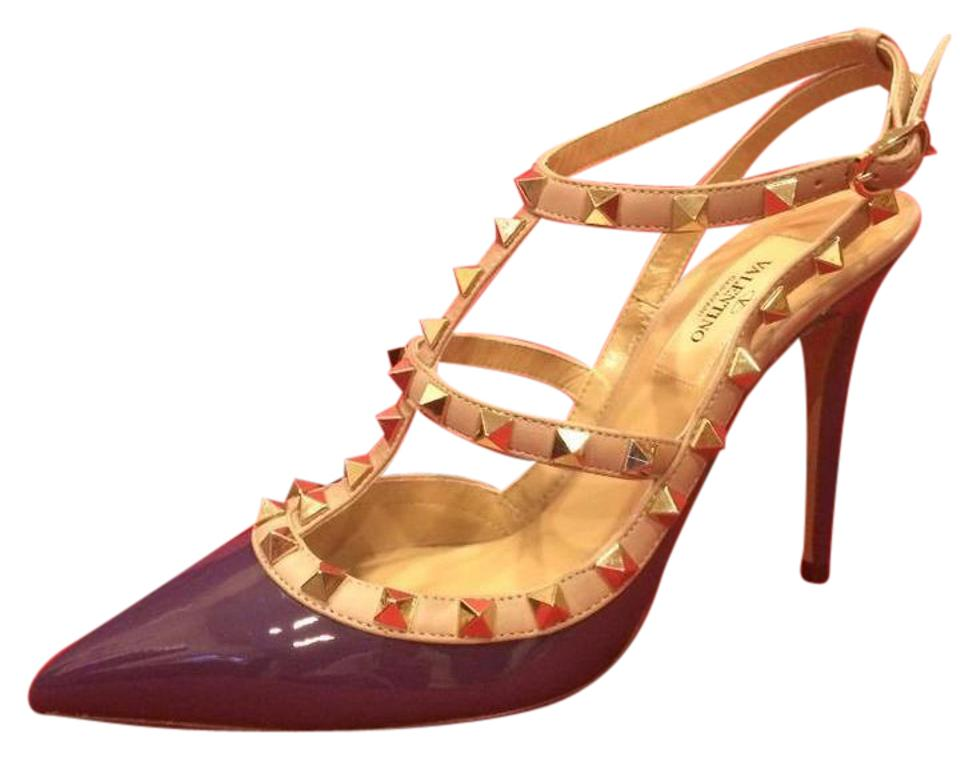 4fe7a796c56 Valentino Purple Rockstud Studded Patent Leather Strappy Heels Sandals. Size   EU 38.5 ...