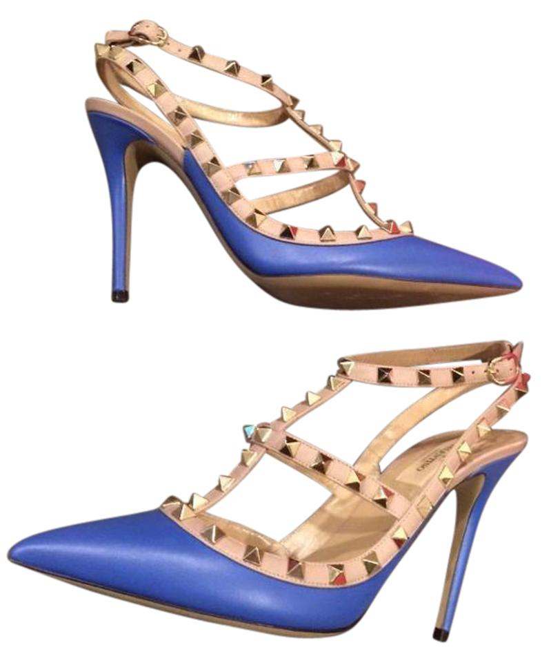 ce0ad211f2cd Valentino Blue Rockstud Studded Leather Strappy Heels 39.5 Sandals ...