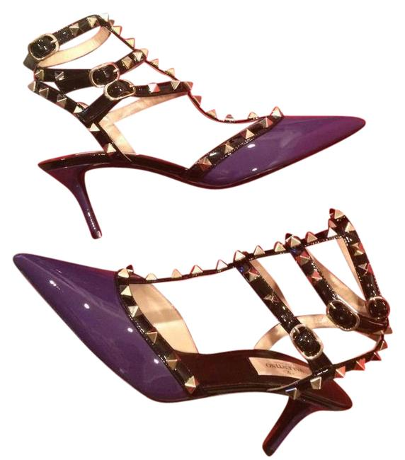 Item - Purple Black Rockstud Studded Patent Leather Strappy Kitten Heels Sandals Size EU 40 (Approx. US 10) Regular (M, B)