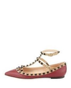 Valentino Studded Rockstud Strappy Caged Ballerina Dark Red Flats