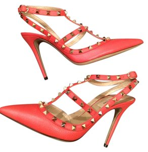 Valentino Studded Rockstud Strappy Red Sandals