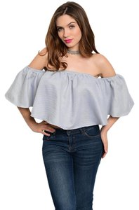 Other Off Ruffles Stripes Spring Top Blue/White